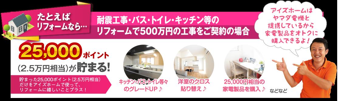 たとえばリフォームなら…耐震工事・バス・トイレ・キッチン等のリフォームで500万円の工事をご契約の場合 25,000ポイント(2.5万円相当)が貯まる!